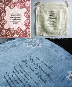 Wedding invitations on handkerchiefs.