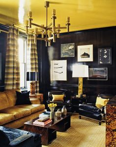 Lacquered Black Walls And Yellow Ceiling In A Living Room By Steven Gambrel