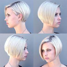 Chin length side part bob Short Hair Dont Care, Short Grey Hair, Short Hair Styles Easy, Short Hair Cuts, Bob Hairstyles For Fine Hair, Cool Hairstyles, Pelo Pixie, Beautiful Haircuts, Cute Short Haircuts