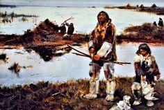 Magdalenian bird hunters by Zdeněk Burian