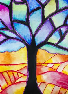 In this mixed media painting we used oil pastels and watercolors in order to learn the ranges of warm and cool colors. With students of Grade we created these trees to recognize and use this ki… Fall Art Projects, School Art Projects, Color Art Lessons, Fantasy Magic, Warm And Cool Colors, Perspective Art, Middle School Art, Spring Art, Autumn Art