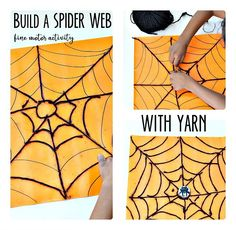 Halloween Fine Motor Activities: Build a Spider Web Spiders! Do spiders get big reactions from your or your child? Both my kids are very curious about critters and don't usually shy away from Toddler Halloween, Halloween Crafts For Kids, Crafts For Kids To Make, Halloween Activities, Halloween Diy, Easy Crafts, Easy Diy, Spider Web Craft, Spider Art