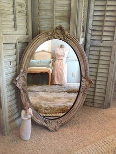 BAROQUE MIRROR, Shabby Chic Mirror, Ornate Oval Mirror, Large Wall Mirror, French Provincial Chalk Paint Mirror, Syroco Wood Mirror on Etsy, $328.00