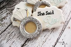 She Said Yes Cookies, Diamond Ring Decorated Cookies, Wedding cookies, Ring Cookies, Bridal Shower cookies, Bride-to-be cookies
