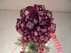 Large Christmas Tree topper bow Red and black plaid Burlap ribbon White Snowflakes by creativelycarole on Etsy