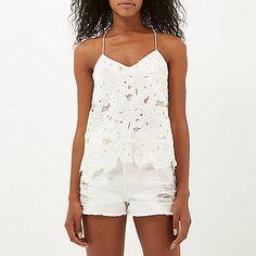 White lace beaded cami - cami / sleeveless tops - tops - women