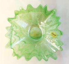 Vintage Murano Lavorazione Art Glass Made in Italy Bowl Dish Sea Pastel Green