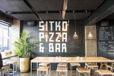 This is how you damp the noice in concrete-glass bunker. Sitko Pizza does not use yeast in their pizzas. It takes up to four days to do the starter dough but it is worth it. Bunker, Acoustic, Concrete, Organic, Glass, Table, Home Decor, Pizza, Decoration Home