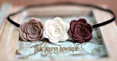 Chocolate Mousse trio felt flower headband- black skinny elastic. Photo Prop, girls, baby. $9.99, via Etsy.