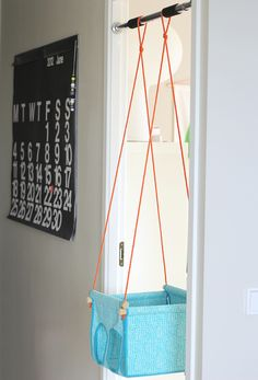 Cute little diy indoor swing for baby. I remember something similar to this when I was young that everyone had for their babies. Kids Swing, Child Swing, Do It Yourself Baby, Baby Swings, Hanging Chair, Hanging Basket, Diy For Kids, Baby Love, Baby Gifts