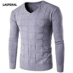 LASPERAL 2017 New Autumn Winter Fashion Solid Knitwear Pullovers Male Sweaters V-Neck Casual Slim Fit Tops Plus Size 3XL #Affiliate
