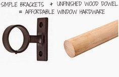Bargain curtain rods: Simple hardware + wood poles. Rosa Beltran Design {Blog}