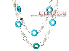 Beautiful Long Style Round White Pearl Blue Spider and Amazon Stone Necklace-----$12.82
