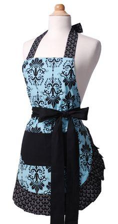 Aqua damask vintage-style apron