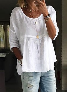 Plus Size Solid Casual Round Neckline Sleeves Blouses - White Source by floryday clothes fashion closet Mode Outfits, Fall Outfits, Casual Outfits, Boho Fashion, Fashion Outfits, Womens Fashion, Fashion Trends, Fashion Blouses, White Fashion