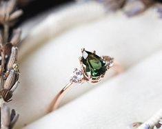Tourmaline sapphire three stone engagement ring, pear engagement ring, three stone ring, rose gold tourmaline ring, green engagement ring #engagementrings