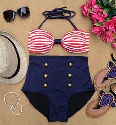 Red Stripes Bandeau Black Highwaist Retro Highwaist Swimsuit Swimwear Bikini