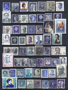 A crowd of blue heads  Vintage postage stamps by artypharty, $3.00