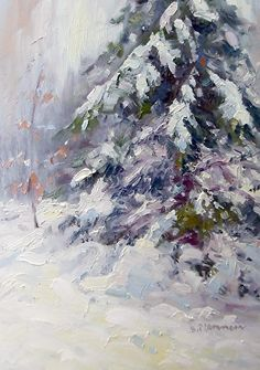 First snow, oil on copper