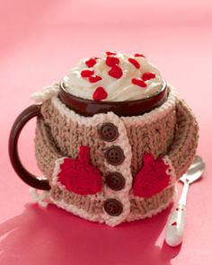 Lily® Sugar 'n Cream® Hug me Mug cozy #knit