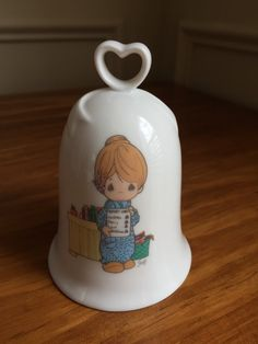Precious Moments bell, teacher gift, Love Never Fails, ceramic heart handle bell, vintage 1994 by HonorableMommy on Etsy https://www.etsy.com/listing/230651657/precious-moments-bell-teacher-gift-love