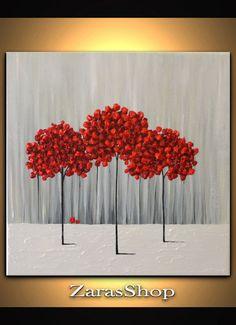 Original Modern Art 16x16 Textured Artwork Red Trees by ZarasShop