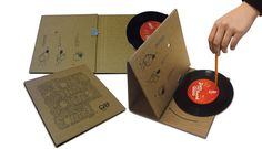 "Grey Vancouver created a portable record player from corrugated cardboard that folds into an envelope. The record can be spun with a pencil and the vibrations go through the needle and produce a recording of a children's story called ""A town that found its sound."""