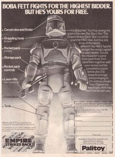 """""""Bobba Fett fights for the highest bidder but he's yours for free. vintage mail away offer"""" Star Wars Film, Star Wars Toys, Star Wars Art, Boba Fett Figure, 70s Sci Fi Art, Star Wars Boba Fett, Jango Fett, Star Wars Action Figures, The Empire Strikes Back"""
