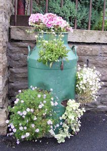 painted milk cans flower pots - Google Search