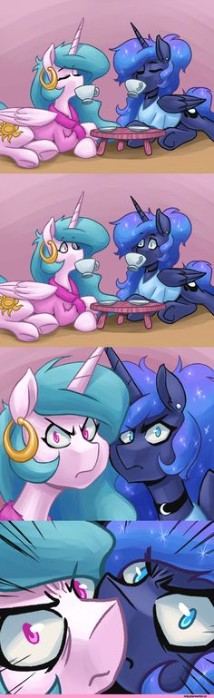 Princess Luna,Princess Celestia. One, how are they holding the cups. Two, they're breaking the fourth wall. :)