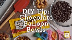 Get the whole family involved in the DIY fun of creating edible chocolate bowls made with the help of balloons. Each delicious bowl can hold all of your favorite party snacks, like fruit and pretzels. Check out our video for the full step-by-step instructions.