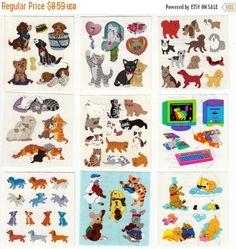 ON SALE Lot of Vintage Nine Sandylion Sticker Mods - Cat Kitten Dog Puppy Kromekote Glitter Scrapbook Teacher Collage