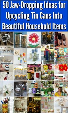 50 Jaw-Dropping Ideas for Upcycling Tin Cans Into Beautiful Household Items! 50 Jaw-Dropping Ideas for Upcycling Tin Cans Into Beautiful Household Items! Aluminum Can Crafts, Tin Can Crafts, Aluminum Cans, Metal Crafts, Crafts To Make, Metal Projects, Crafts With Tin Cans, Art Projects, Diy Crafts