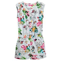 Cakewalk Girls Blue Cacti Print 'Sydney' Cotton Playsuit ss16