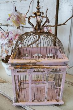 Reserved Wood And Wire Pink Birdcage With Crown Distressed Rusted Patina Home…