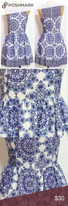 Everly blue and white print dress size Small Cute sleeveless dress, perfect for brunch or weddings. Only worn once, excellent condition! Everly Dresses Mini