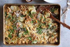 One-Pan Chicken, Kale, and Potato Gratin