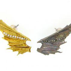 Devil Wing Earrings in Silver and Gold - $4750 #silverandgold #hohoho #angelsanddevils