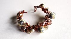Copper and Ivory Beaded Crocheted Bracelet by SweetCarolinaCharm, $34.00