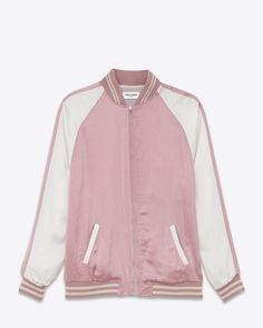 a48d7bc9347 Saint Laurent Teddy Two-Tone Bomber Jacket in Cotton Candy Pink as seen on  Lady Gaga