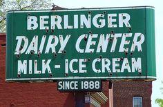 Berlinger Dairy Center Milk - Ice Cream, Former Neon Sign - St. Louis, Missouri - via Flickr