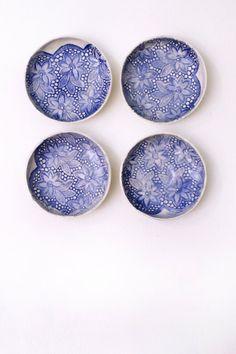ceramic plate 4 plate 4 ceramic bowl Shabby Chic by KunstLABor