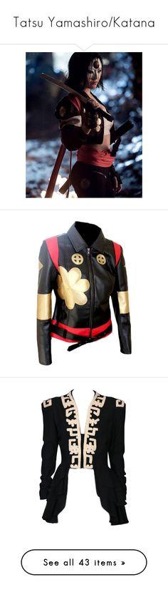 """Tatsu Yamashiro/Katana"" by emmalouwallace ❤ liked on Polyvore featuring outerwear, jackets, coats, leather jackets, real leather jackets, 100 leather jacket, genuine leather jackets, casaco, vintage and black"