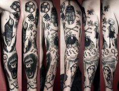 electrictattoos:  Ian Levin Tom Waits inspired sleeve  DEAR GOD LOOK AT IT.