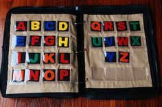 excellent alphabet page matching activity. very cool idea.  maybe one side the letter, and one side a pic starting with that letter??