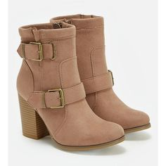 Justfab Booties Daphnee ($40) ❤ liked on Polyvore featuring shoes, boots, ankle booties, brown, buckle booties, justfab boots, brown booties, platform booties and high heel booties
