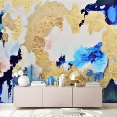 """Waves of blush and sapphire create a larger than life wave of color. Our """"Sapphire"""" wall mural features large patterns of bright pink and blue tones that can be enhanced by the gold leafing kit that comes with every single mural or wallpaper order. Blue Abstract, Abstract Wall Art, Peel And Stick Wallpaper, Wall Wallpaper, Removable Wall Murals, Prepasted Wallpaper, Statement Wall, Traditional Wallpaper, Hand Illustration"""