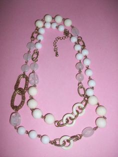 Long Gold Tone White Plastic Bead Necklace by MICSJWL on Etsy, $5.00
