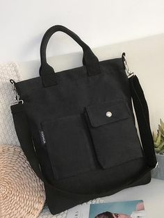3 Colors With-pockets Canvas Handbag - rrdeye Large Leather Tote Bag, Travel Bags For Women, Mode Blog, Canvas Handbags, Simple Bags, Black Handbags, Fashion Bags, Bag Accessories, Purses And Bags