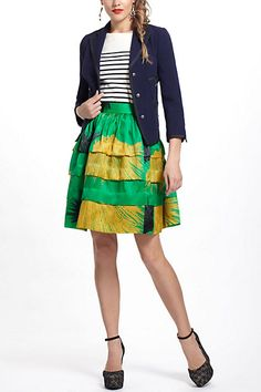 Beautiful bright colors! And a great deal right now! Crosshatched Ruffle Skirt - Anthropologie.com